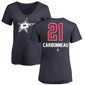 Guy Carbonneau Dallas Stars Women's Navy Name and Number Banner Wave V-Neck T-Shirt -